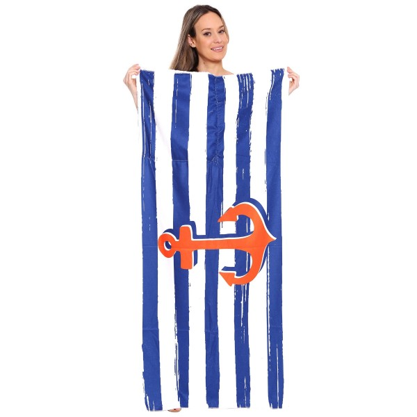"Blue Stripe Anchor Beach Towel Drawstring Bag All in One.  - Unfold your bag to use the soft beach towel - Conveniently folds back into a drawstring bag - Towel approximately 27"" W x 59"" L - 70% Cotton / 30% Polyester"