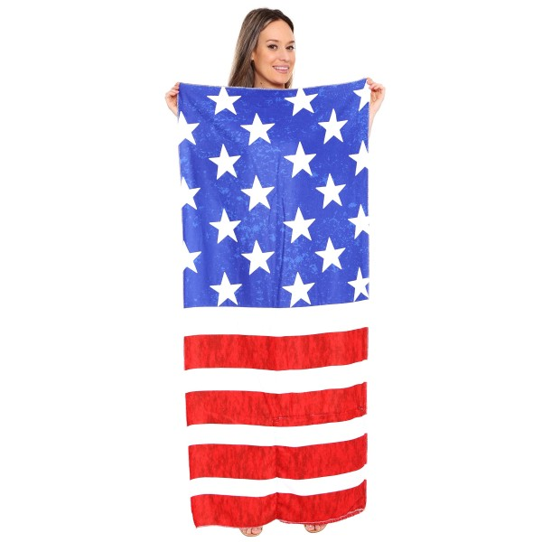 "Stars and Stripes Beach Towel Drawstring Bag All in One.  - Unfold your bag to use the soft beach towel - Conveniently folds back into a drawstring bag - Towel approximately 27"" W x 59"" L - 70% Cotton / 30% Polyester"
