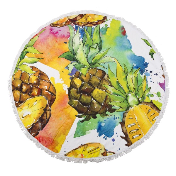 "Pineapple Fringe Luxury Round Beach Towel.  - Approximately 59"" in diameter - 70% Cotton / 30% Polyester"