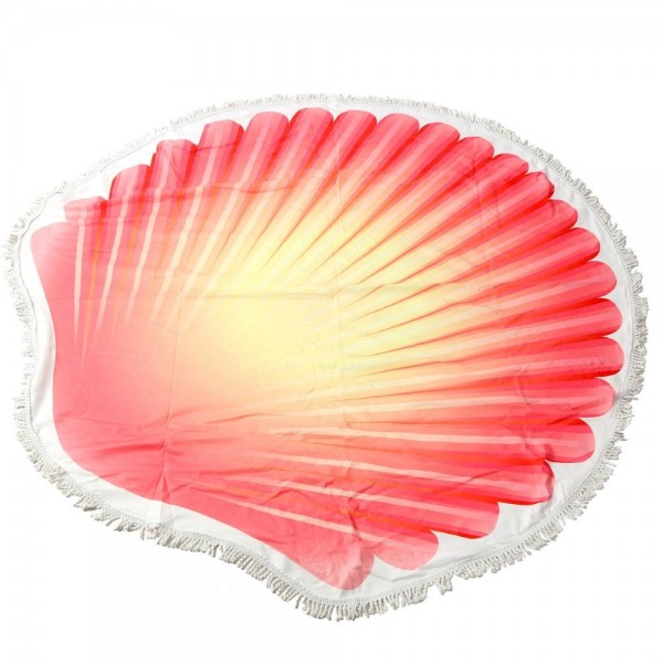 "Seashell Fringe Luxury Round Beach Towel.  - Approximately 59"" in diameter - 70% Cotton / 30% Polyester"