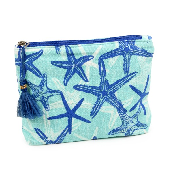 "Starfish beach travel pouch with tassel accent.  - Open lined inside - Zipper closure - Approximately 8"" W x 6"" T - 100% Cotton"