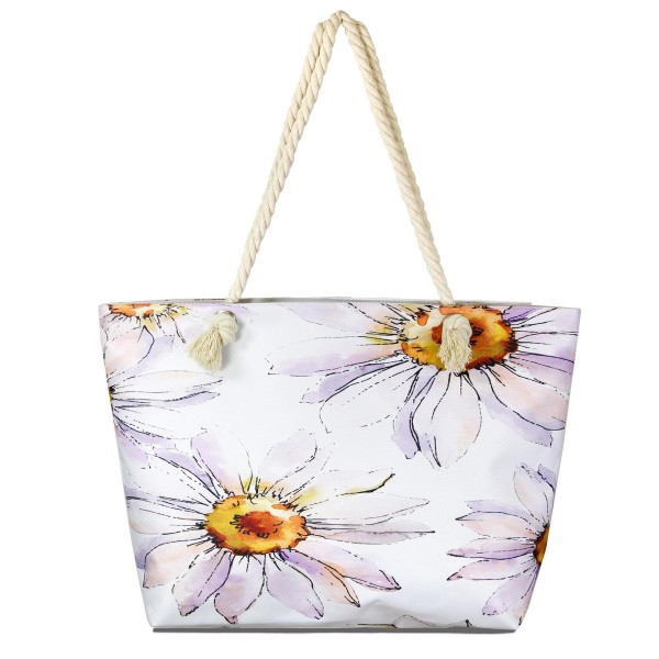 "Jumbo flower print tote bag with rope handles.  - One inside pocket  - Zipper closure - Rope handles - Approximately 22"" W x 14"" T - Handles 12"" L - 65% Polyester, 35% Cotton"