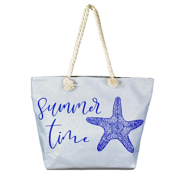"""Summer time metallic beach tote bag with rope handles.  - Open inside pocket  - Zipper closure - Rope handles - Approximately 19"""" W x 14"""" T - Handles 11"""" L - 90% Paper, 10% Polyester"""