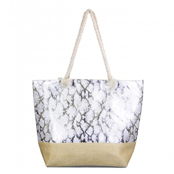 "Metallic snakeskin canvas tote bag with rope handles.  - Open inside  - Zipper closure - Rope Handles - Approximately 19"" W x 15"" T - Handles 11"" L - 70% Polyester, 30% PU"
