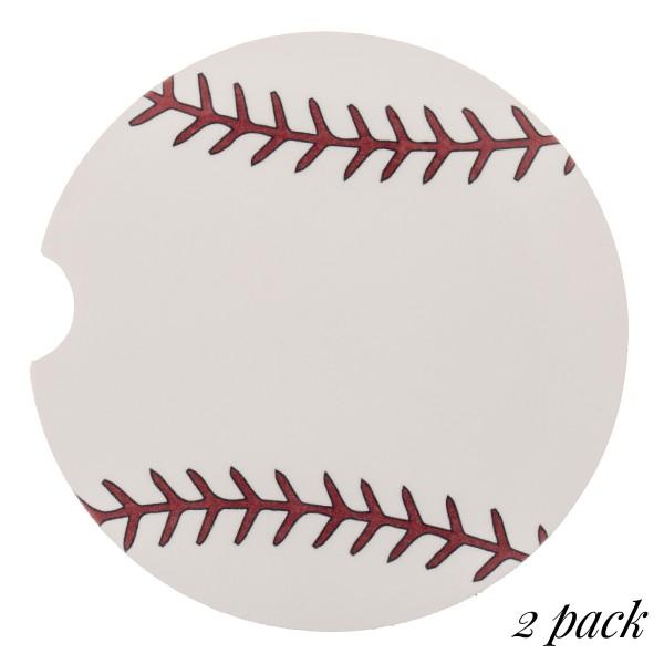 "Baseball printed car coaster set.  - Pack Breakdown: 2pcs/pack - Approximately 2"" in diameter - Finger slot for easy removal - Condensation absorbing cork"