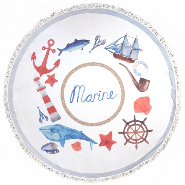 "Do everything in Love brand Marine Life fringe round beach towel.  - Approximately 59"" in diameter - 70% Polyester / 30% Cotton"