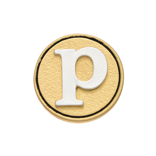 """Two tone snap charm featuring the initial """"p"""". Snap jewelry collection."""