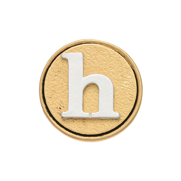 "Two tone snap charm featuring the initial ""h"". Snap jewelry collection."