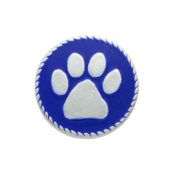 Silver tone blue snap charm with a paw print. Snap jewelry collection.