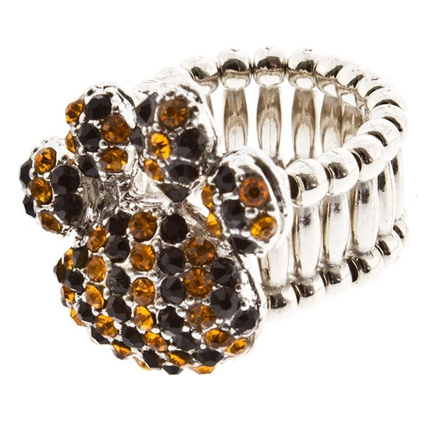 """Silver tone stretch ring topped with a 1"""" paw encrusted with yellow and black rhinestones."""