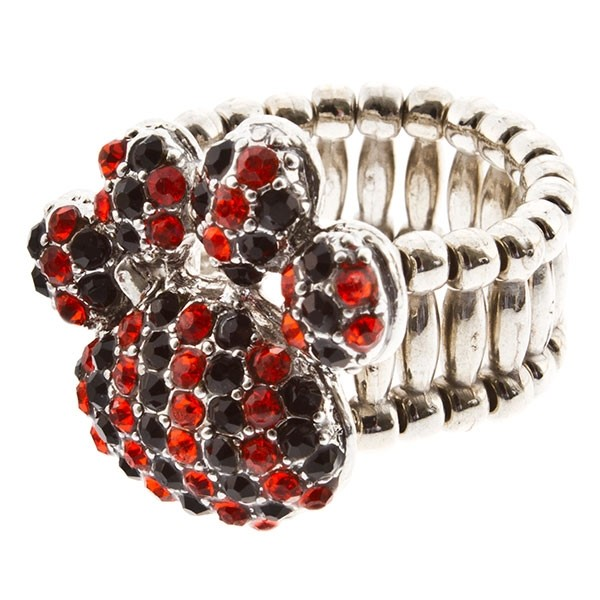 """Silver tone stretch ring topped with a 1"""" paw encrusted with orange and black rhinestones."""