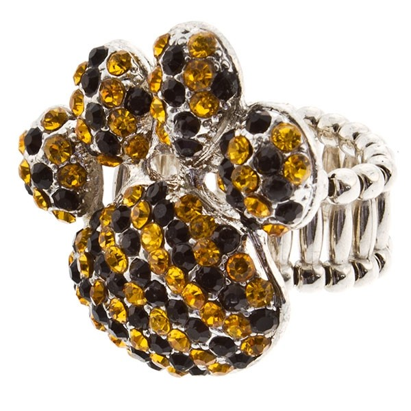 """Silver tone stretch ring topped with a 1 1/2"""" paw encrusted with yellow and black rhinestones."""