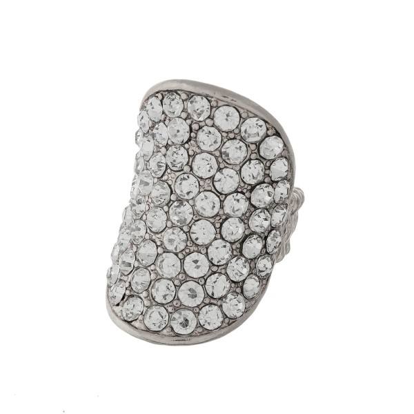 Stretch cocktail ring with clear rhinestones.