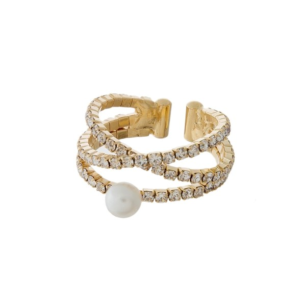 Three row, adjustable ring with clear rhinestones and a pearl bead.