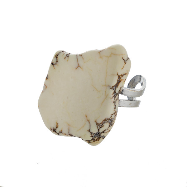 Natural stone adjustable ring.   - One size fits most