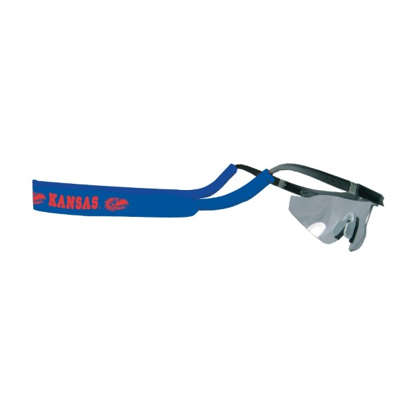 "Officially licensed University of Kansas neoprene ""Shade Holders"" for your glasses or sunglasses. Blue in color with Kansas and jayhawk logo in red."