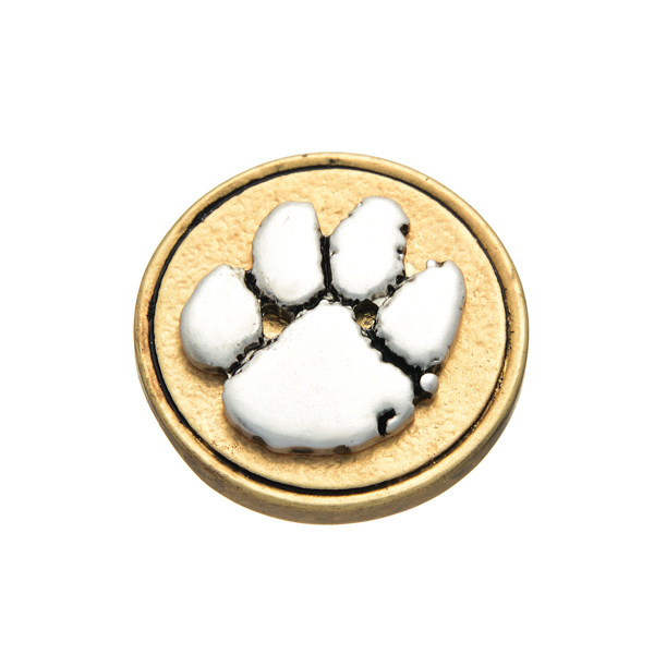 Matte two tone officially licensed collegiate snap charm with the Clemson Tigers paw print. Snap jewelry collection.