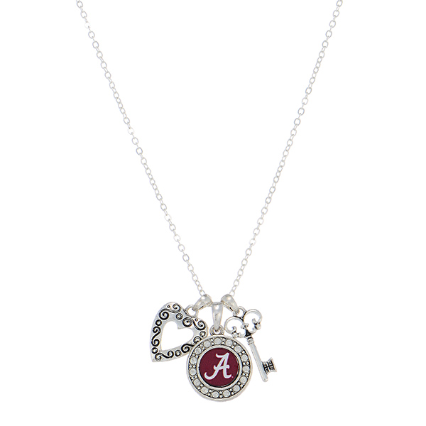 """Officially licensed 18"""" silver tone necklace featuring an Alabama logo, a heart shaped charm, and a key."""