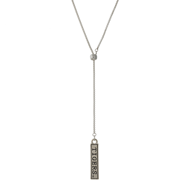 Wholesale officially licensed silver Y necklace bar pendant stamped Tigers Adjus