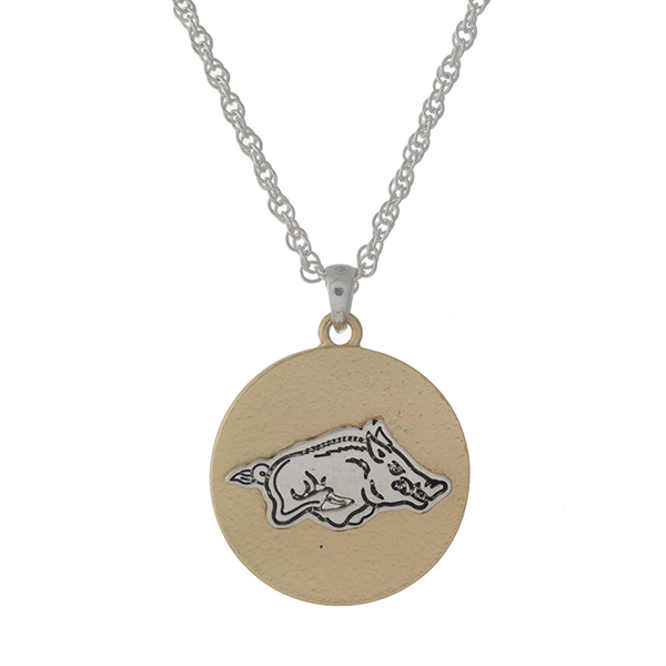 """Officially licensed, two tone necklace with the University of Arkansas logo pendant. Approximately 18"""" in length."""