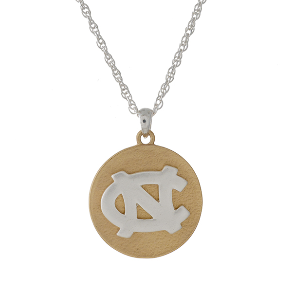 "Officially licensed, two tone necklace with the University of North Carolina logo pendant. Approximately 18"" in length."