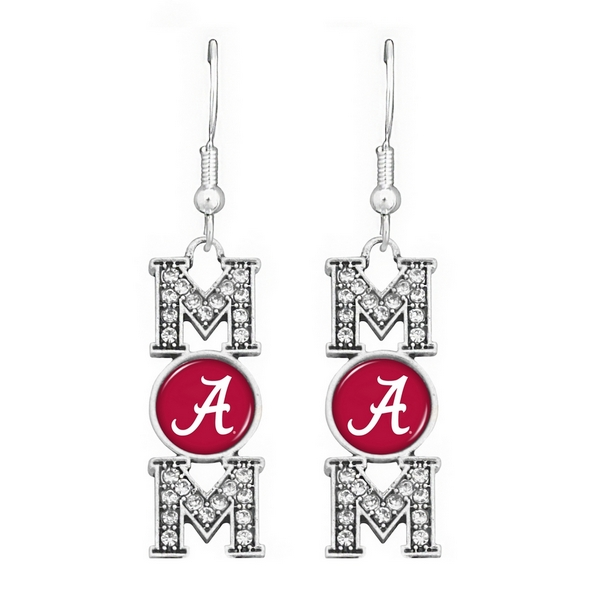"""Officially licensed 2"""" Silver tone fish hook earrings featuring """"MOM"""" written with an Alabama logo accented with crystal clear rhinestones."""