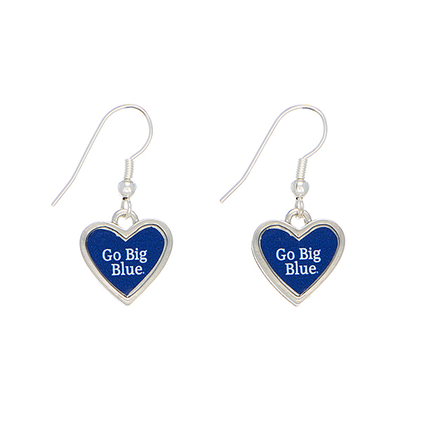 "Officially licensed 1"" silver tone Kentucky earrings featuring a heart shape inscribed with ""Go Big Blue."""