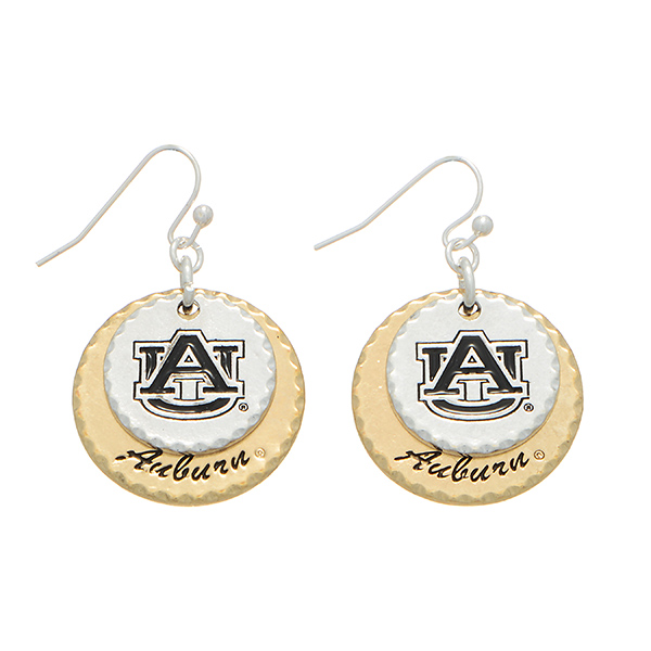 "Mixed metal collegiate earrings featuring two disk stamped ""AU"" and ""Auburn"". Charm approximately 1"" in length. Overall length 1 9/16""."