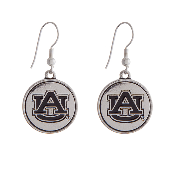 "Officially licensed Auburn University silver tone fishhook earrings with a circle logo. Approximately 2"" in length."