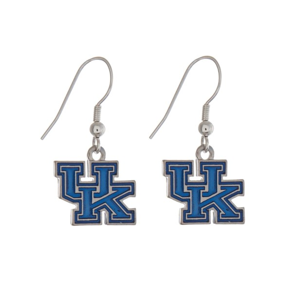 "Silver tone officially licensed University of Kentucky earrings displaying the logo. Approximately 1"" in length."
