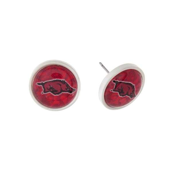 "Silver tone officially licensed University of Arkansas stud earrings. Approximately 2/3"" in length. Our exclusive design."