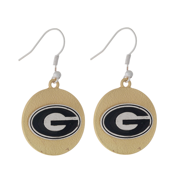 """Officially licensed, two tone fishhook earrings with the University of Georgia logo. Approximately 1"""" in diameter."""