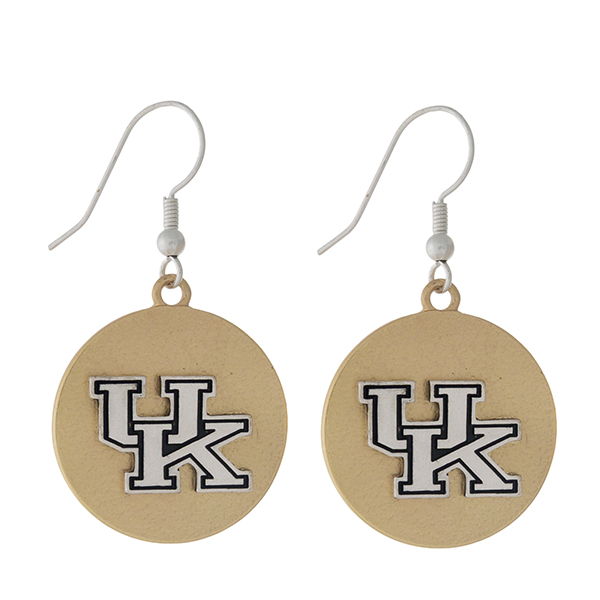 "Officially licensed, two tone fishhook earrings with the University of Kentucky logo. Approximately 1"" in diameter."