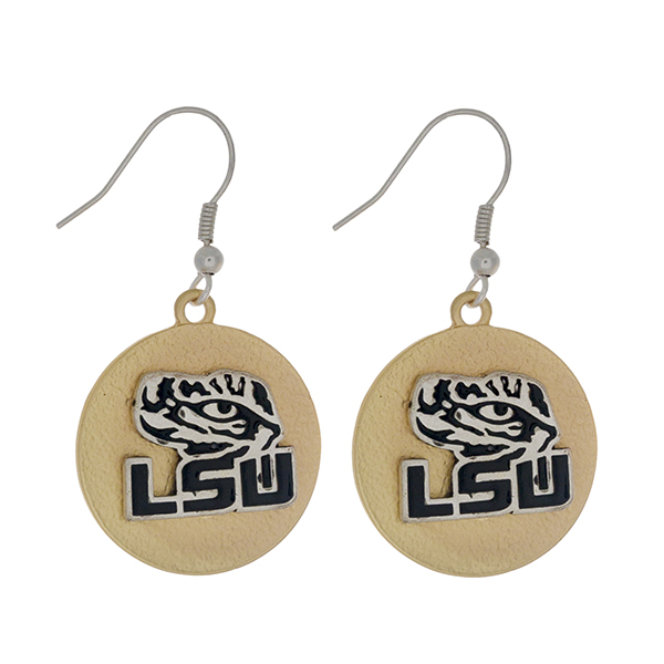 """Officially licensed, two tone fishhook earrings with the LSU logo. Approximately 1"""" in diameter."""