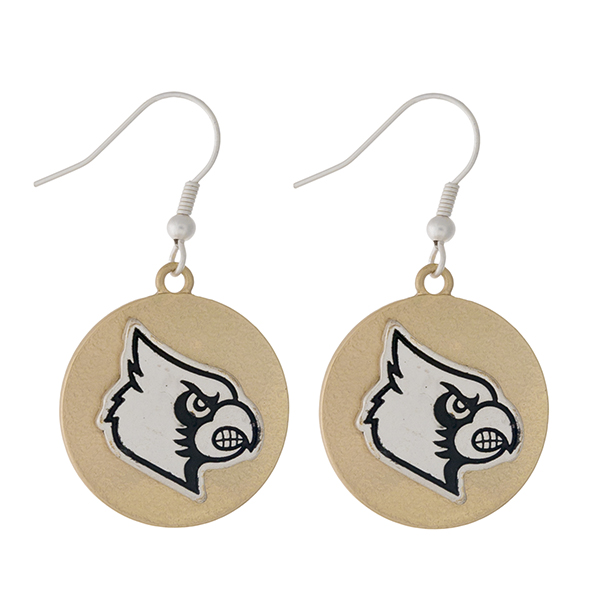 "Officially licensed, two tone fishhook earrings with the University of Louisville  logo. Approximately 1"" in diameter."