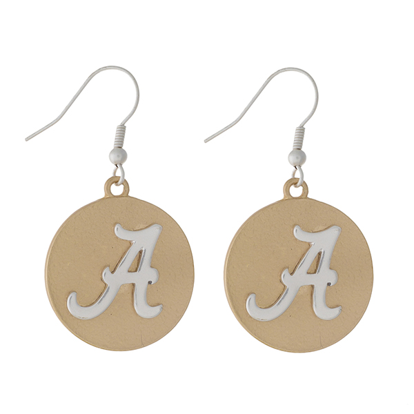 """Officially licensed, two tone fishhook earrings with the University of Alabama logo. Approximately 1"""" in diameter."""