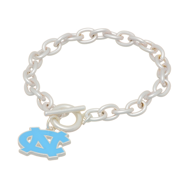 "Matte silver tone officially licensed collegiate toggle bracelet featuring the University of North Carolina logo. Approximately 7"" in length."