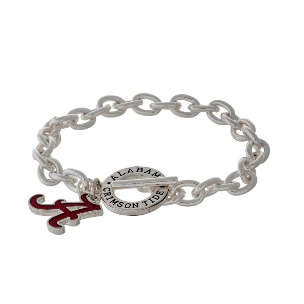 Silver tone officially licensed University of Alabama toggle bracelet with the logo charm.