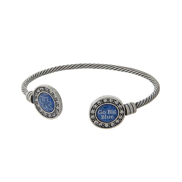 Officially licensed University of Kentucky silver tone open cuff bracelet.
