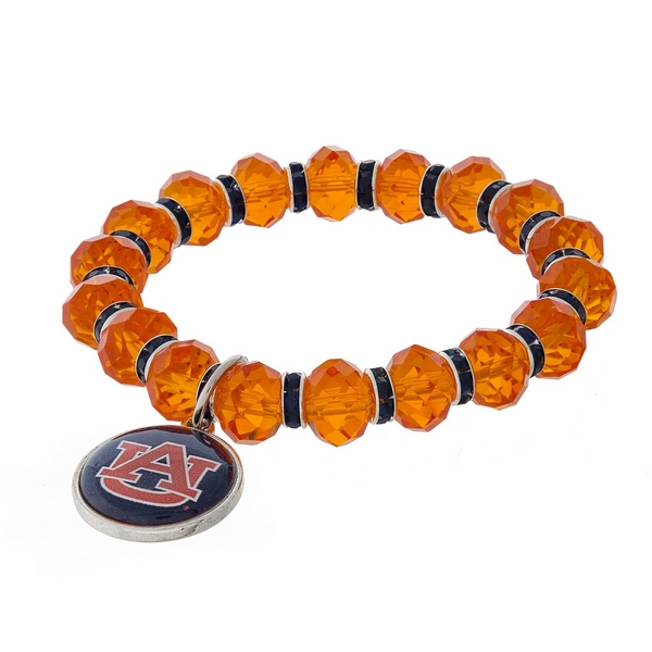 Officially licensed, Auburn University stretch bracelet with clear rhinestone accents and a logo charm.