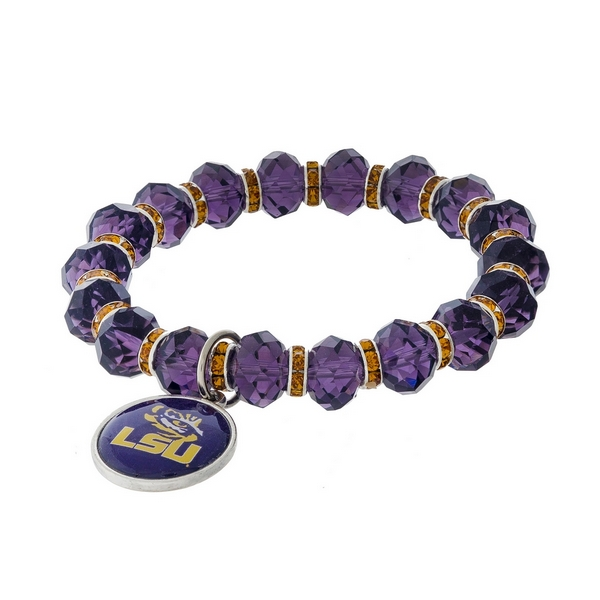 Officially licensed, LSU stretch bracelet with clear rhinestone accents and a logo charm.
