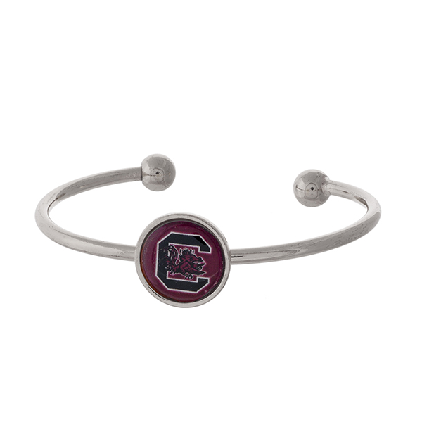 Officially licensed, silver tone cuff bracelet with the University of South Carolina logo.