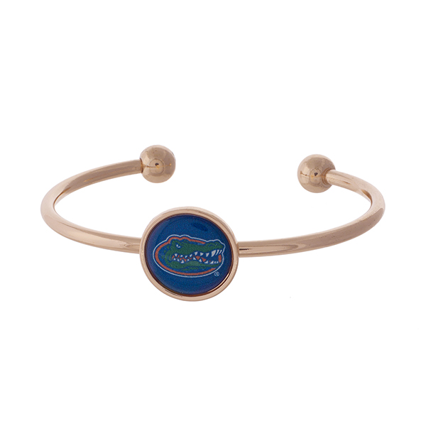 Officially licensed, rose gold tone cuff bracelet with the University of Florida logo.