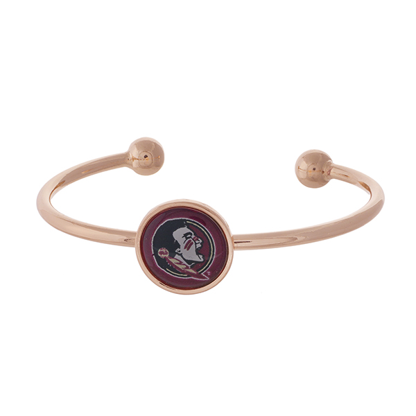 Officially licensed, rose gold tone cuff bracelet with the Florida State logo.