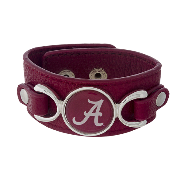 Wholesale officially licensed faux leather bracelet University Alabama logo