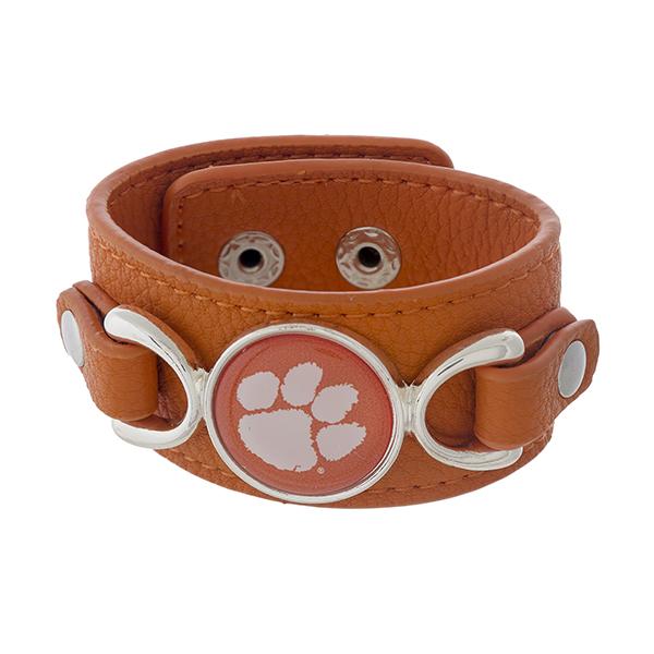 Wholesale officially licensed faux leather bracelet Clemson University logo