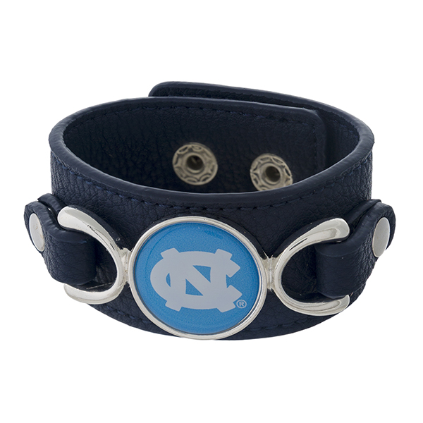 "Officially licensed, faux leather bracelet with the University of North Carolina logo. Approximately 1"" in width."