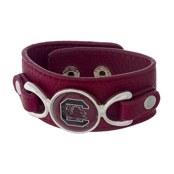 Wholesale officially licensed faux leather bracelet University South Carolina lo