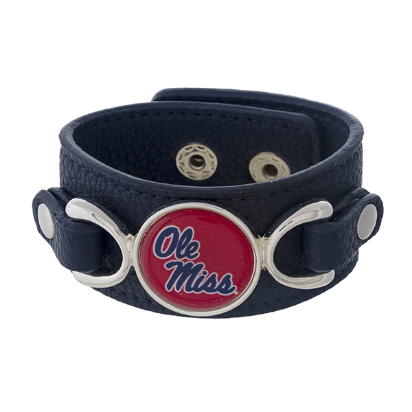 Wholesale officially licensed faux leather bracelet Ole Miss logo