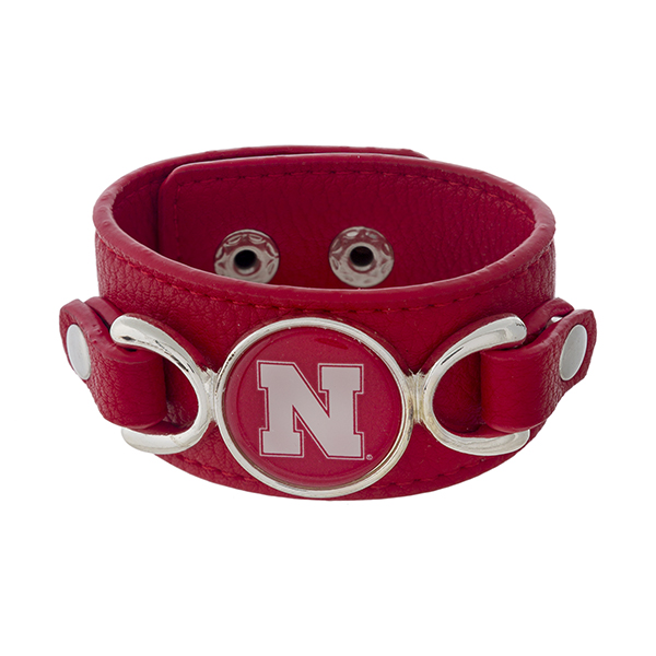 Wholesale officially licensed faux leather bracelet University Nebraska logo